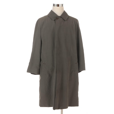 Men's Burberry Car Coat in Taupe with Brown Check Lining