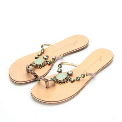 Giuseppe Zanotti Embellished Flip-Slop Sandals