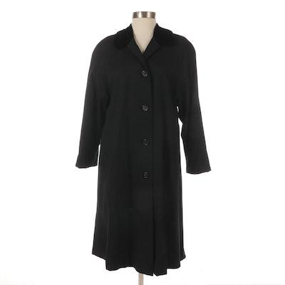 Burberry Prorsum Women's Raglan Sleeve Wool Car Coat with Velvet Collar