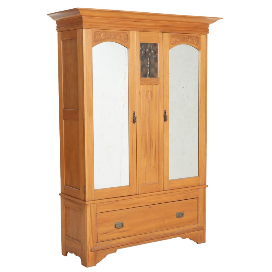 Arts and Crafts Wood Knockdown Armoire with Metal Plaque, Early 20th Century