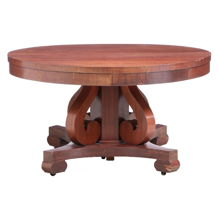 Empire Style Mahogany Dining Table, Early 20th Century