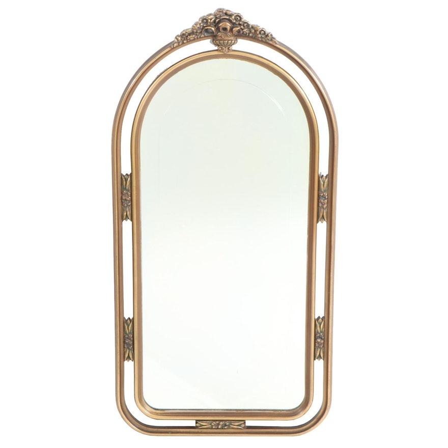 Hollywood Regency Style Giltwood Framed Beveled Glass Wall Mirror