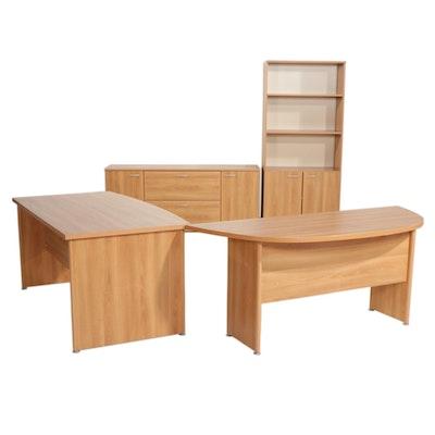Contemporary Laminate Office Desk, Credenza and Shelves
