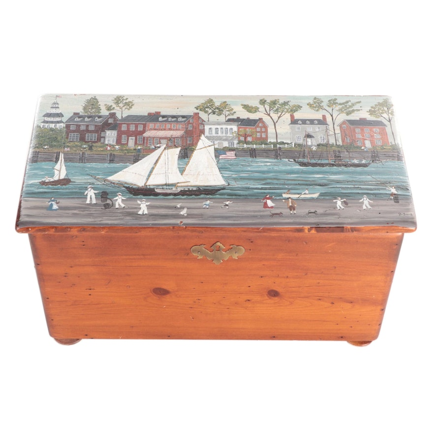 A. Snell Folk Art Style Hand-Painted Americana Harbor Scene Pine Chest