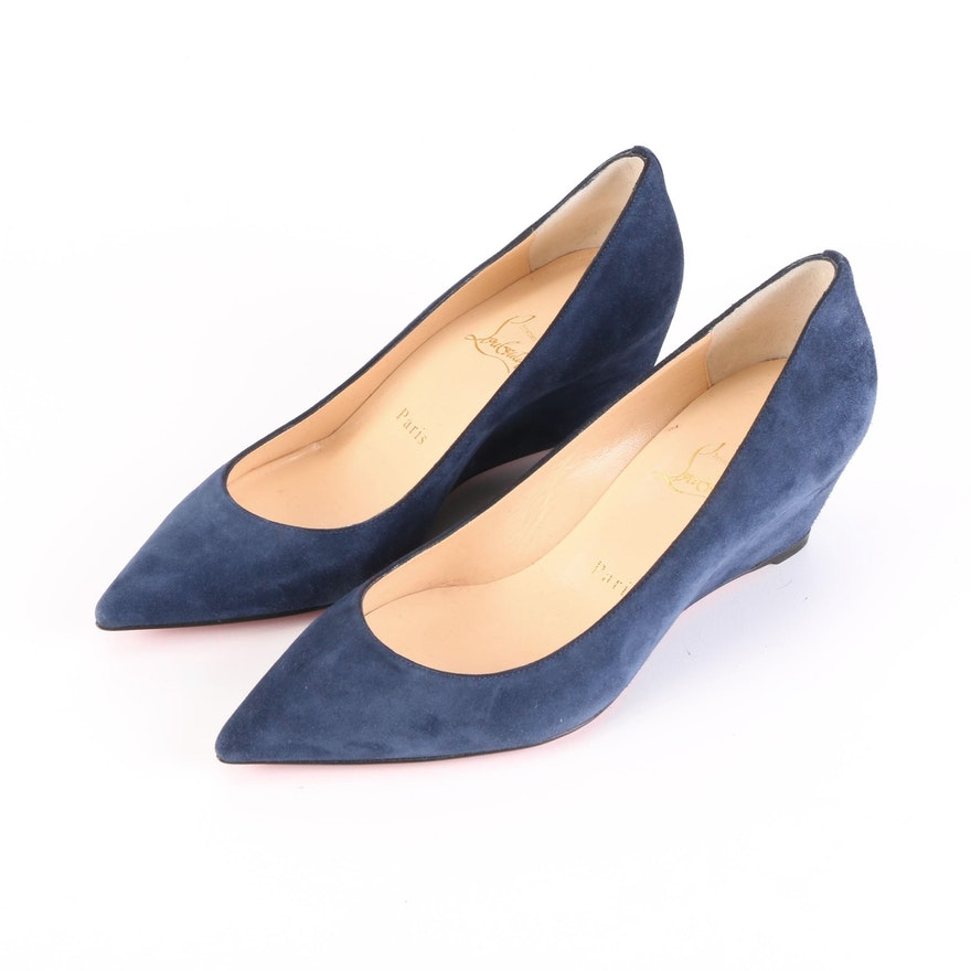 Christian Louboutin Pipina 55 Wedge Pumps in Suede Calfskin with Box