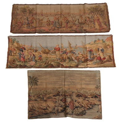 Machine Woven Belgian Tapestries in Venetian, Middle Eastern, and Fishing Scenes
