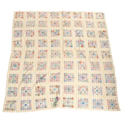 Handmade Yo-Yo Pieced Cotton Bedspread, Early to Mid-20th Century