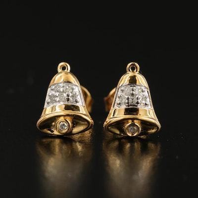 Sterling Diamond Bell Stud Earrings
