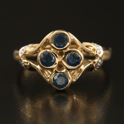 Sterling Sapphire Multi-Stone Bezel Ring