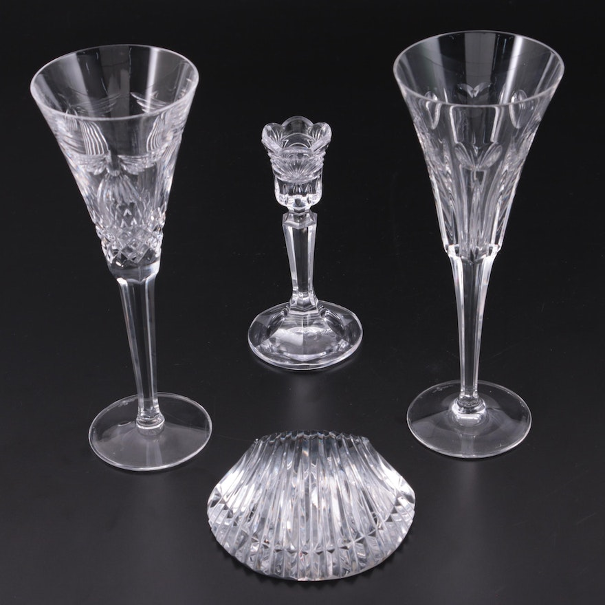 Waterford Millenium Series Flutes with Paperweight and Marquis Candlestick