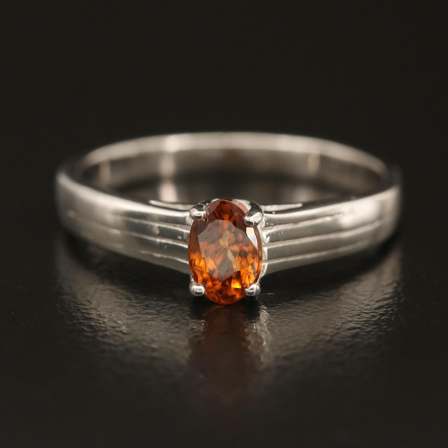 Sterling Zircon Solitaire Ring with Ridged Shoulders