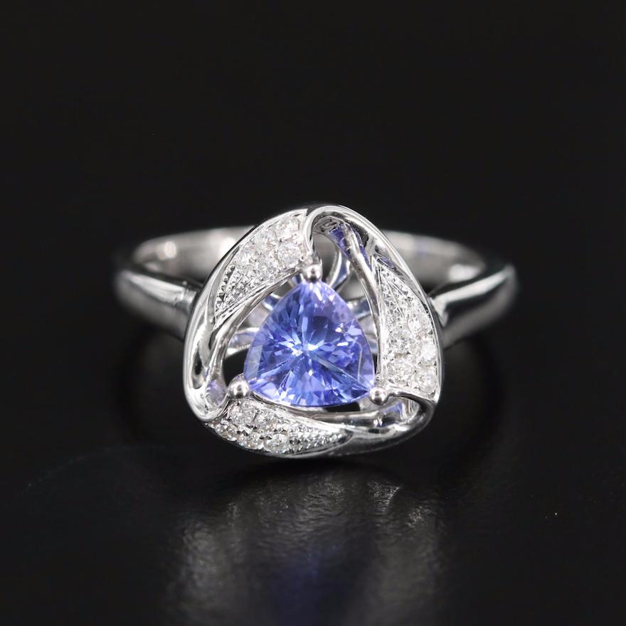 18K Tanzanite and Diamond Triangular Openwork Ring