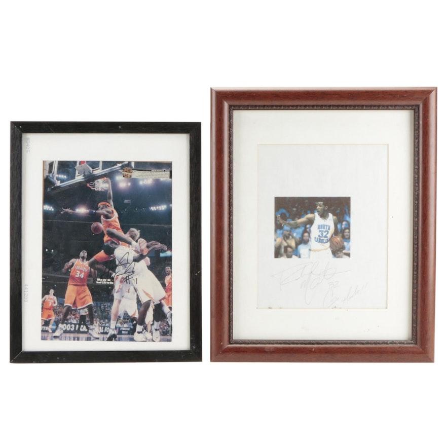 Rasheed McCants UNC and Hakim Warrick Syracuse Signed NCAA Basketball Prints