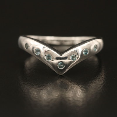 Sterling Alexandrite Chevron Ring with Burnished Setting