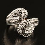 Diamond Bypass Ring with Braided Detail