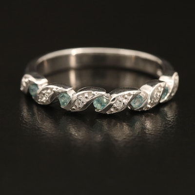 Sterling Alexandrite and Zircon Illusion Set Ring