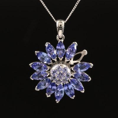 Sterling Tanzanite Flower Pendant Necklace