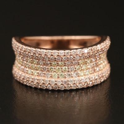 14K 1.37 CTW Pavé Diamond Concave Ring