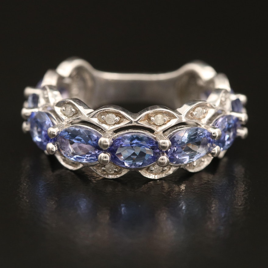 Sterling Tanzanite and Diamond Scalloped Openwork Ring