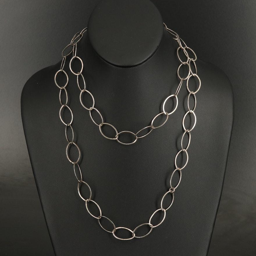 Sterling Silver Endless Navette Link Necklace