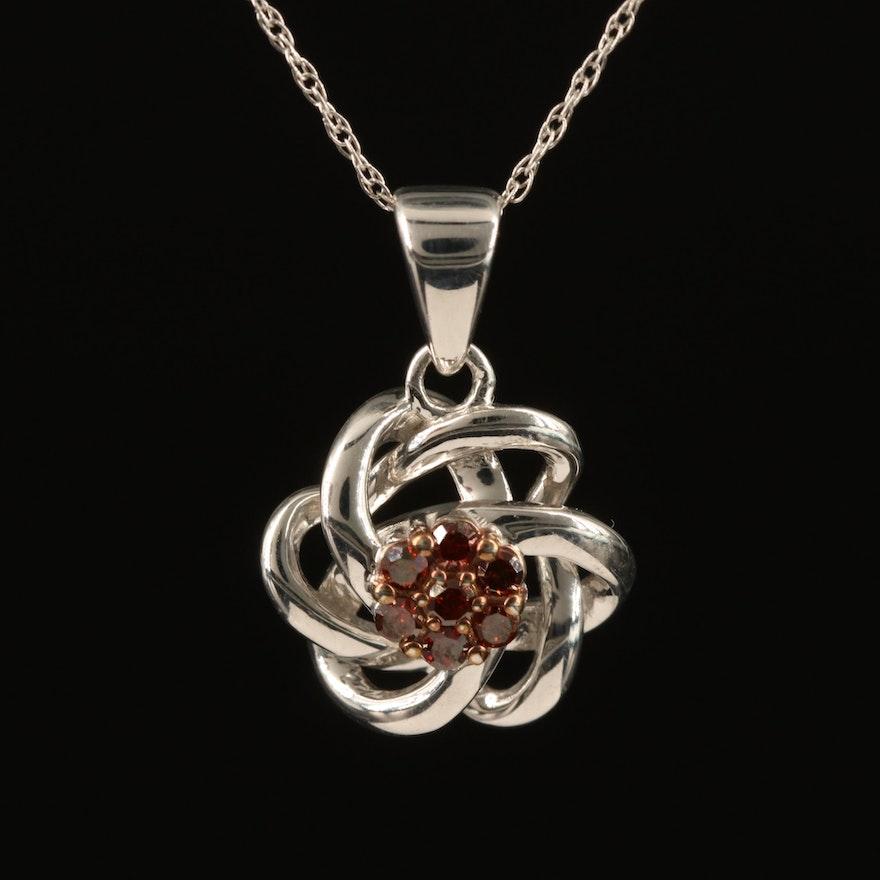 Sterling Silver Diamond Love Knot Pendant Necklace