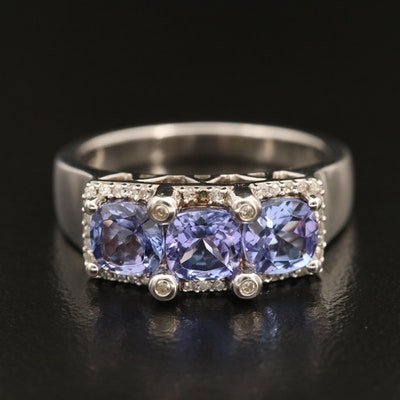 Sterling Tanzanite and Diamond Ring with Bezel Set Prong Detail