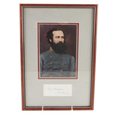 Confederate Lt. Gen. Wade Hampton Framed Signature Cut and Portrait Print, COA