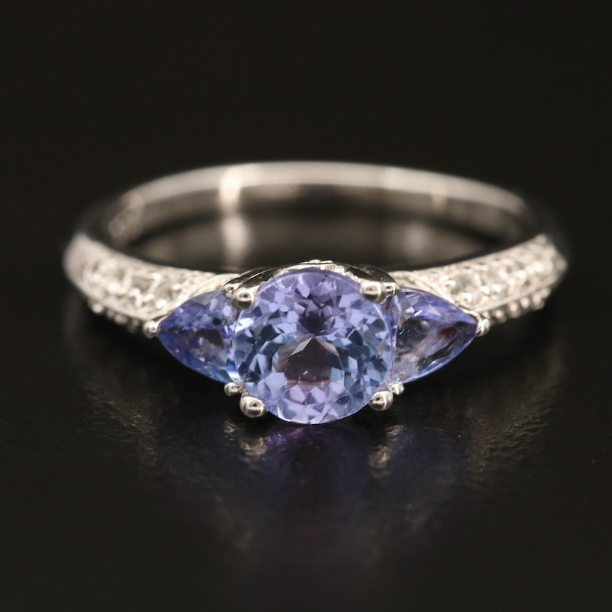 Sterling Tanzanite and Topaz East-West Ring