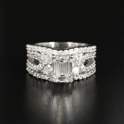 Platinum 3.56 CTW Diamond Ring with IGI Report