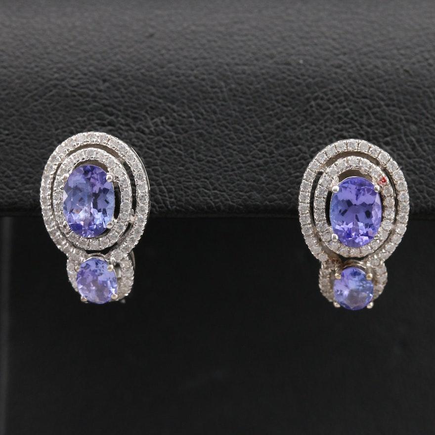 Sterling Tanzanite and Cubic Zirconia J Hoop Earrings