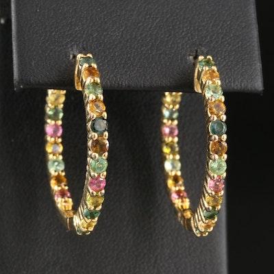 Sterling Silver Multicolored Tourmaline Inside-Out Hoop Earrings