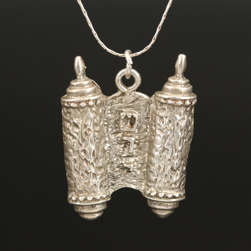 Sterling Silver Torah Pendant Necklace