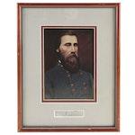 Confederate General John Bell Hood Framed Cut Signature and Photo Portrait, COA