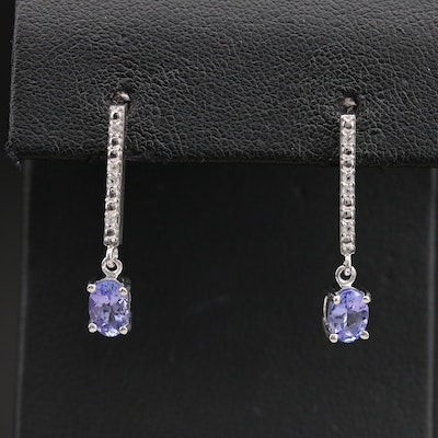 Sterling Tanzanite and Topaz Earrings