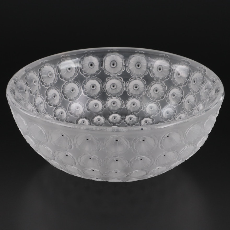 """Lalique """"Nemours"""" Frosted and Clear Crystal Bowl"""