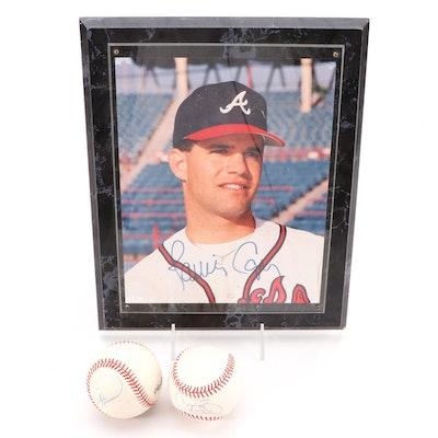 Cecil Fielder, Jerome Walton, Andre Dawson Signed Baseballs, Javy Lopez Photo