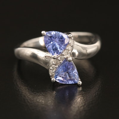 Sterling Tanzanite and Diamond Bypass Ring