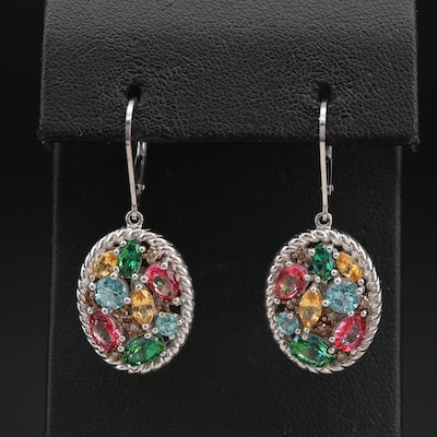 Sterling Topaz and Diamond Cluster Earrings with Braided Edges