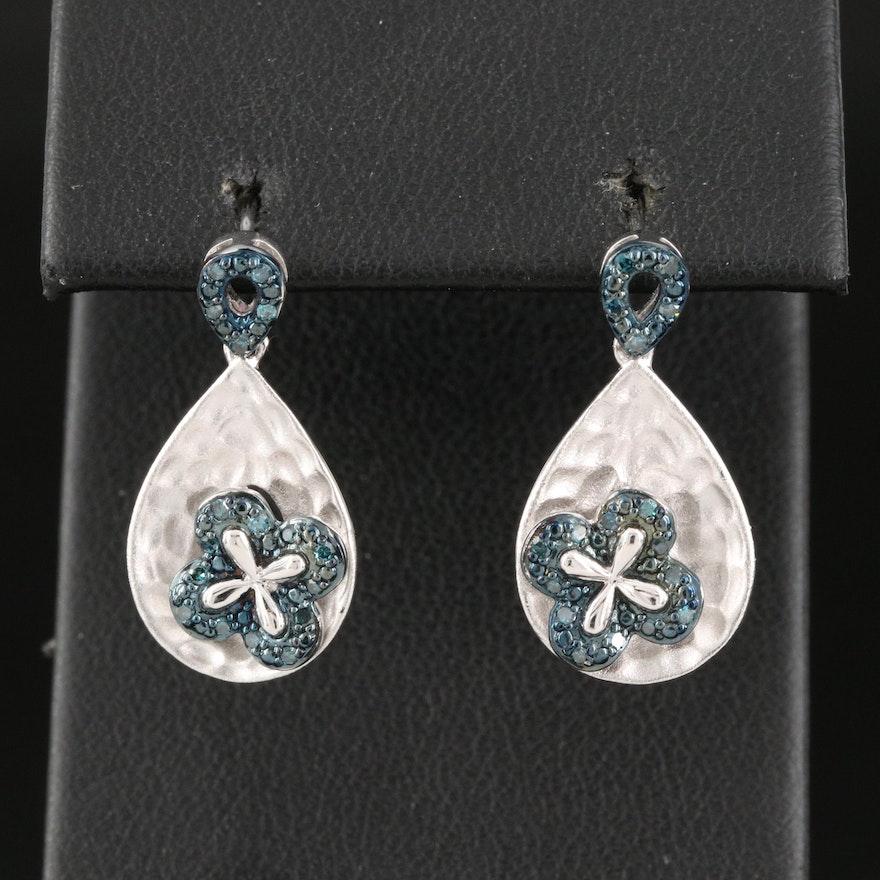 Sterling Silver Diamond Drop Earrings