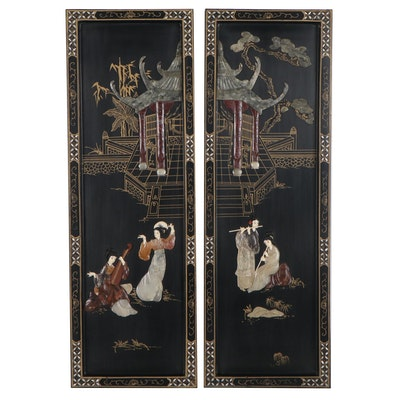 Chinese Style Lacquer and Stone Inlay Wooden Wall Hangings