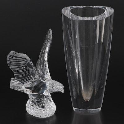"Waterford Crystal ""Eagle"" Figurine and Orrefors Crystal Vase"