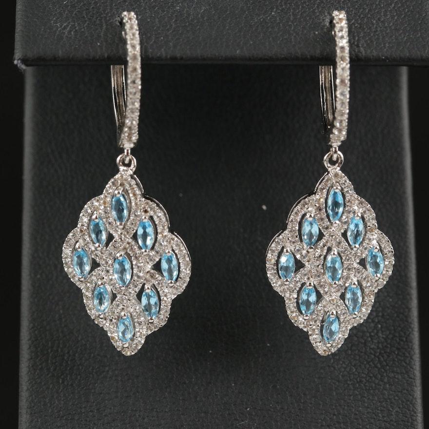 Sterling Swiss Blue Topaz Drop Earrings