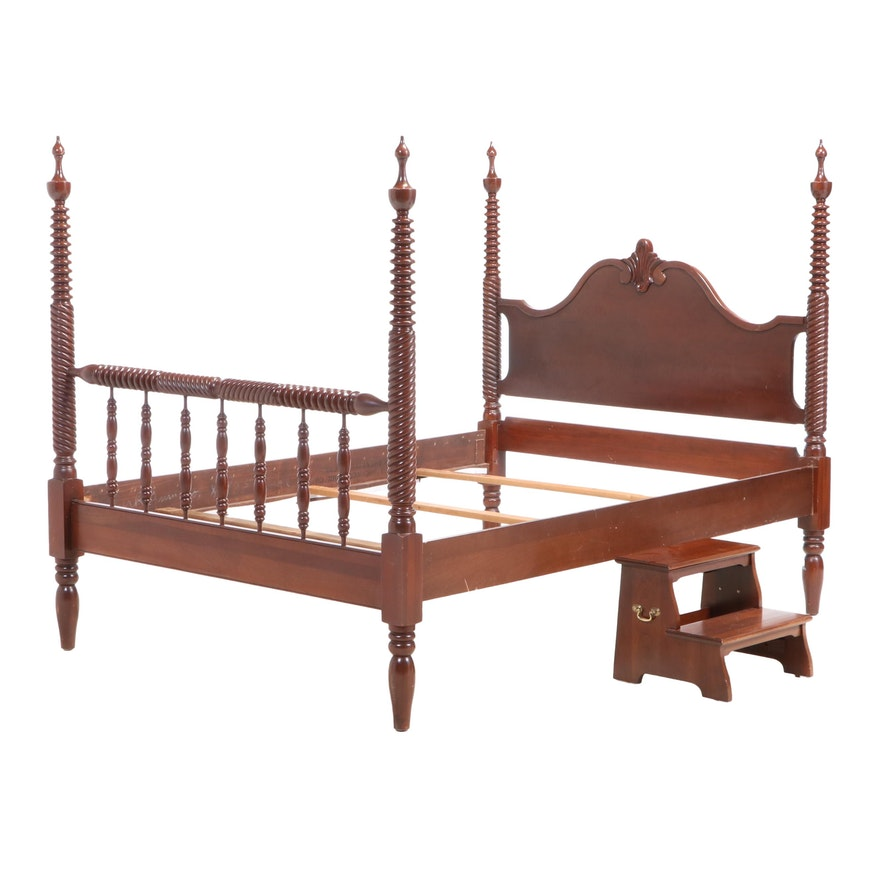 Federal Style Cherry Four Post Bed with Bed Steps, 20th Century