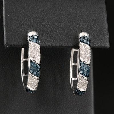 Diamond Striped Oval Hoop Earrings