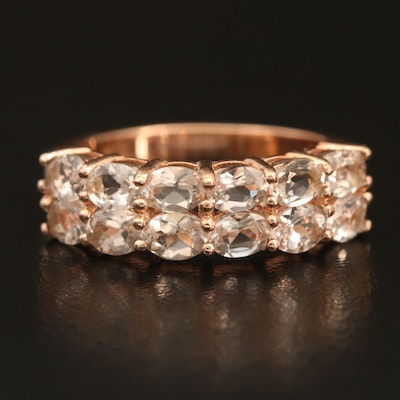 Sterling Morganite Double-Row Ring