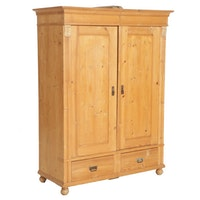 Scrubbed Pine Armoire, Late 19th Century and Adapted