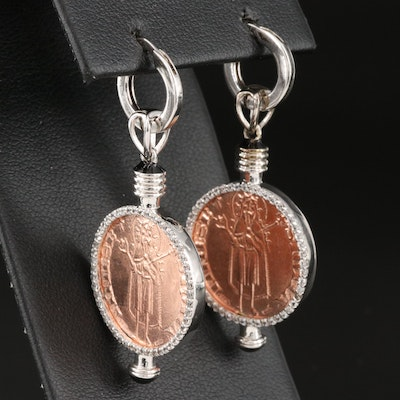 Sterling Silver Zircon and Enamel Reproduction of Antique European Coin
