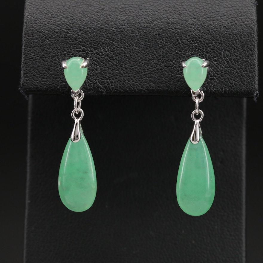 Sterling Jadeite Pendulum Earrings