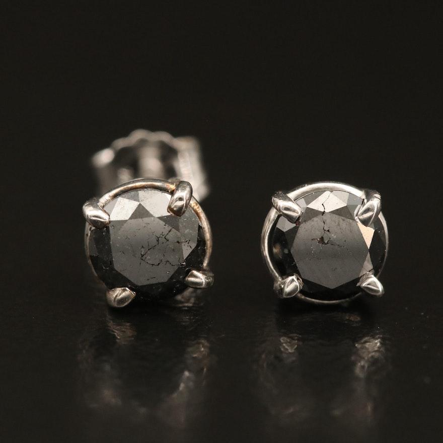 Sterling Fancy Black Diamond Solitaire Earrings