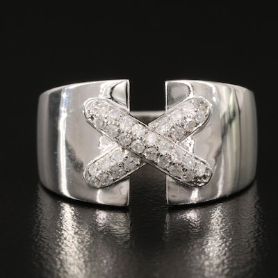 """Sterling Silver Diamond """"X"""" Tapered Band"""
